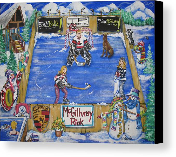 Canvas Print featuring the painting Mcgillvray Rink by Jill Alexander