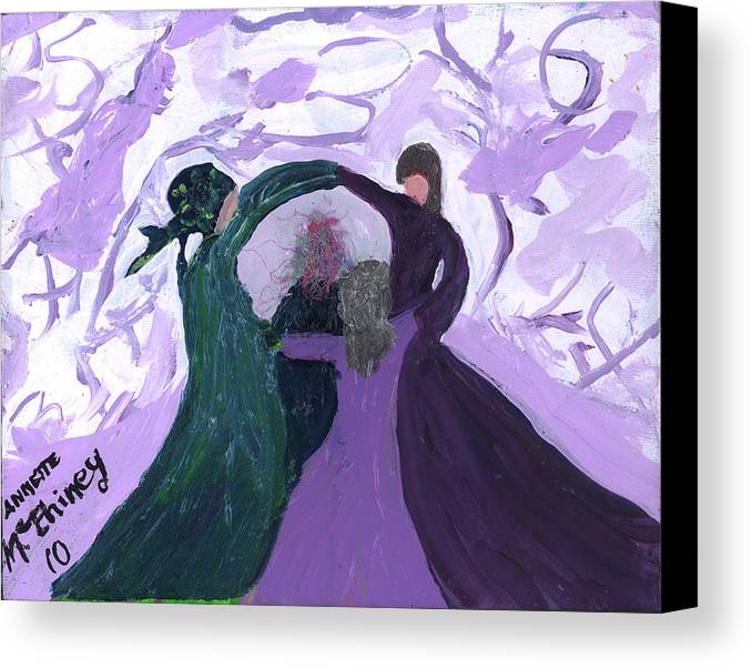 Women Canvas Print featuring the painting Nicki's Support Circle by Annette McElhiney