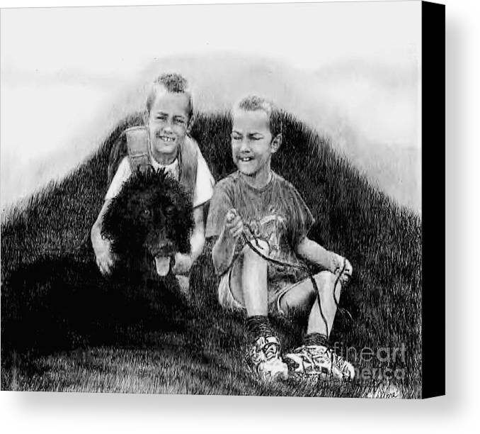 Boys Canvas Print featuring the drawing Obrien Brothers And Their Dog by Carliss Mora