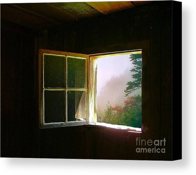Log Cabin Canvas Print featuring the photograph Open Cabin Window In Spring by Julie Dant