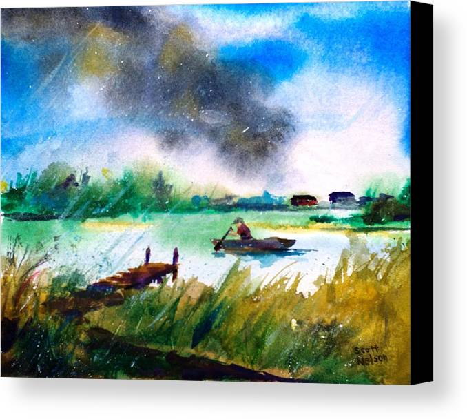 Paddle Canvas Print featuring the painting Racing Back by Scott Nelson