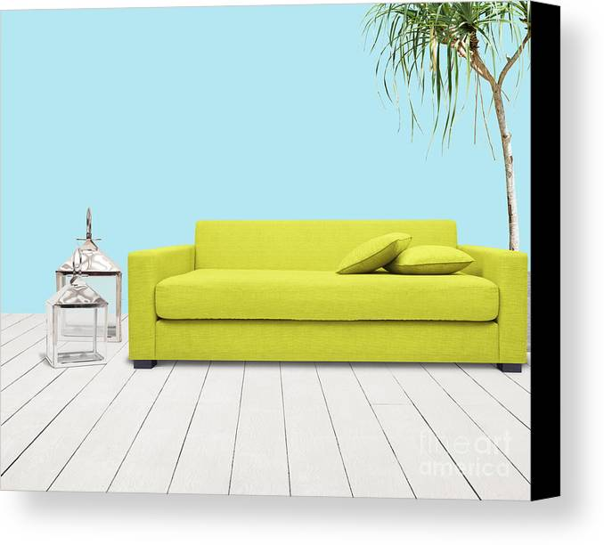 Apartment Canvas Print featuring the mixed media Room With Green Sofa by Atiketta Sangasaeng
