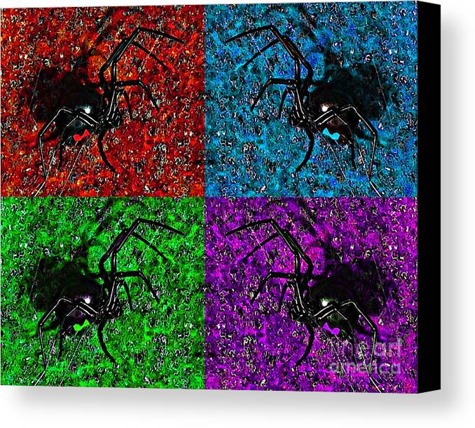 Black Widow Spider Canvas Print featuring the photograph Scary Spider Serigraph by Al Powell Photography USA
