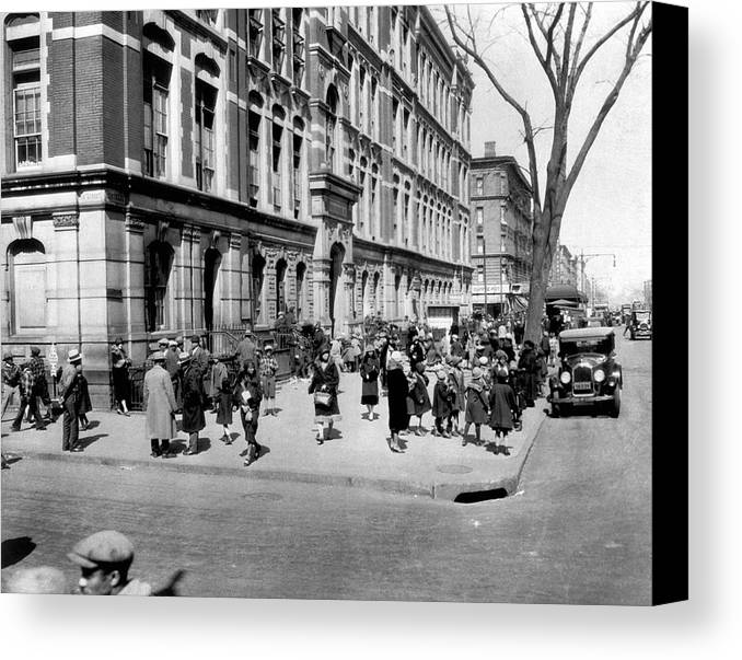 1920's Canvas Print featuring the photograph School's Out In Harlem by Underwood Archives