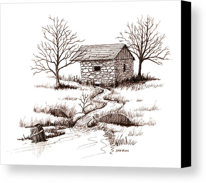 Pen Canvas Print featuring the drawing Spring House by Daniel Paul Murphy