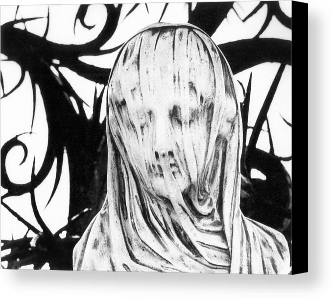Detail; Sculpture; French; Carved; Carving ; Female; Head; Effigy; Monument; Funerary; Veil; Veiled; Shroud; Winding Sheet; Dead; Corpse; Death; Macabre; Thorns; Thorny; Spooky; Ghost; Ghostly; Gothic Canvas Print featuring the photograph Statue by Simon Marsden