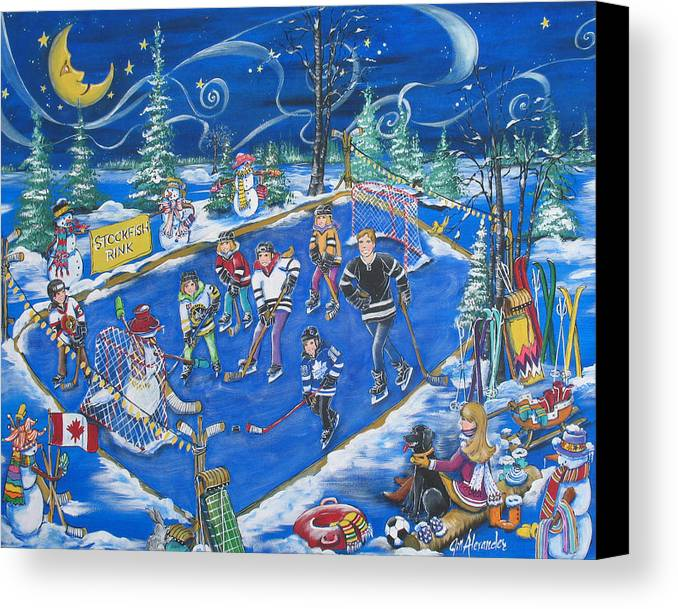 Canvas Print featuring the painting Stockfish Rink by Jill Alexander