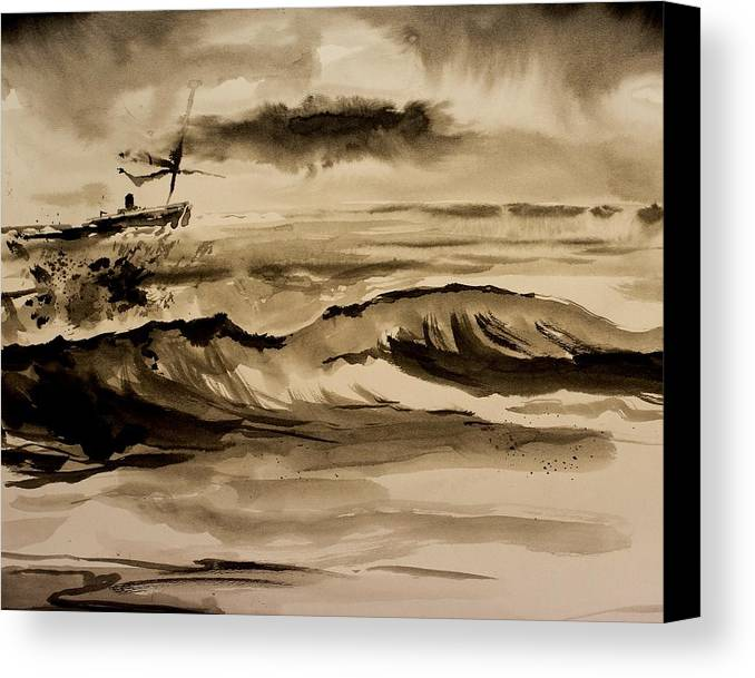 Ink Canvas Print featuring the painting Stormy Arrival by Scott Nelson