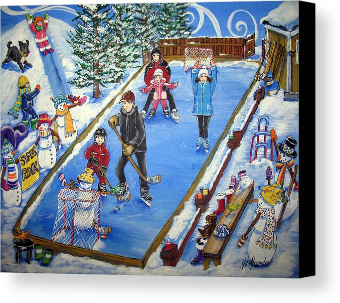 Canvas Print featuring the painting Symes Rink by Jill Alexander