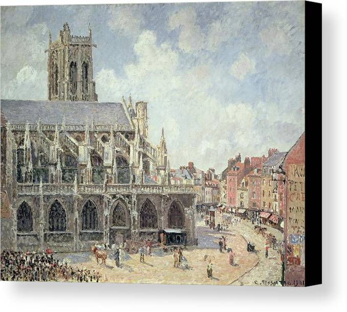 The Church Of St Jacques In Dieppe Canvas Print featuring the painting The Church Of Saint Jacques In Dieppe by Camille Pissarro