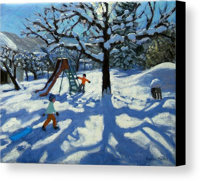 Swiss Landscape Canvas Print featuring the painting The Slide In Winter by Andrew Macara