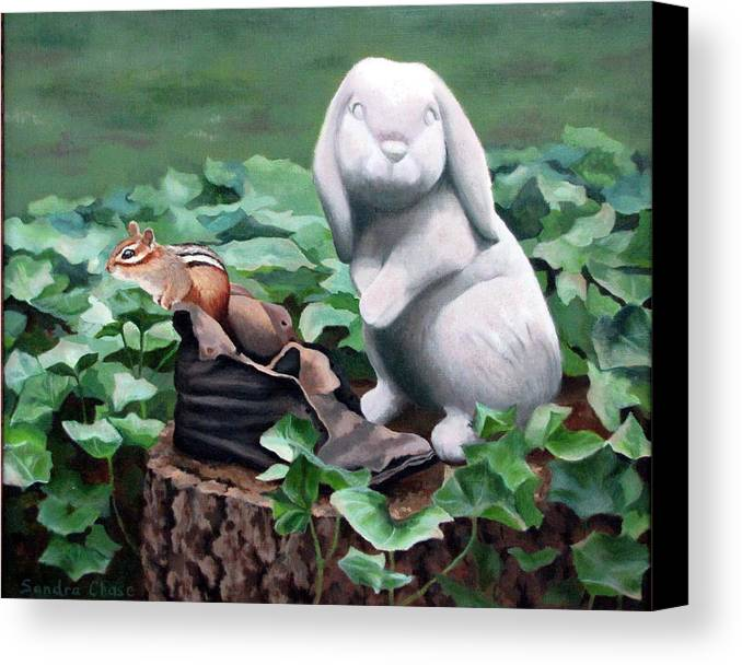 Chipmunk Canvas Print featuring the painting The Stone Rabbit by Sandra Chase
