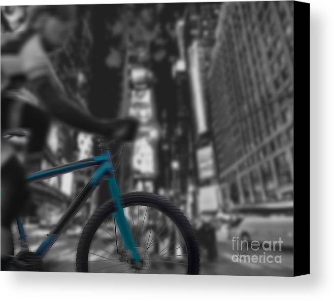 Bike Canvas Print featuring the digital art Touring The City by Linda Seacord