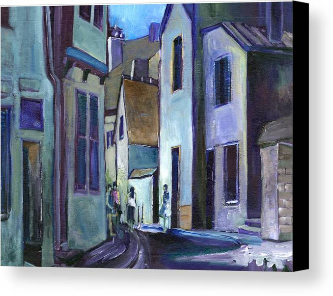 People Canvas Print featuring the painting Town In Italy by Carol Mangano