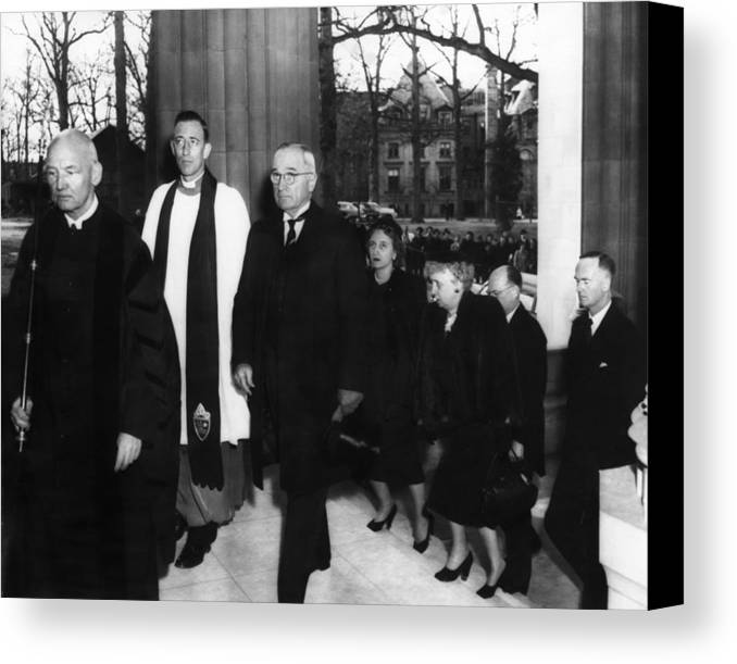 1950s Canvas Print featuring the photograph Truman Presidency. From Left Cathedral by Everett
