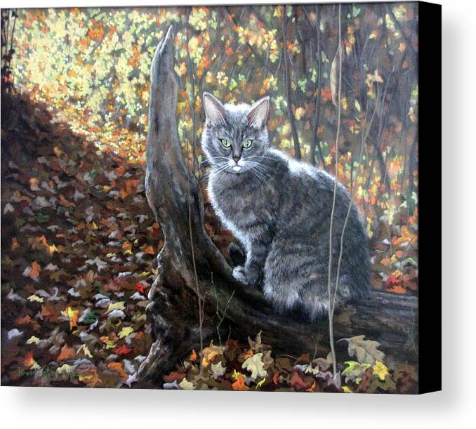 Kitten Canvas Print featuring the painting Waiting In The Woods by Sandra Chase