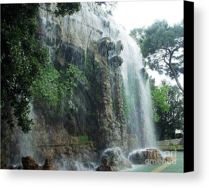 Nice Canvas Print featuring the photograph Waterfall In Nice by AmaS Art
