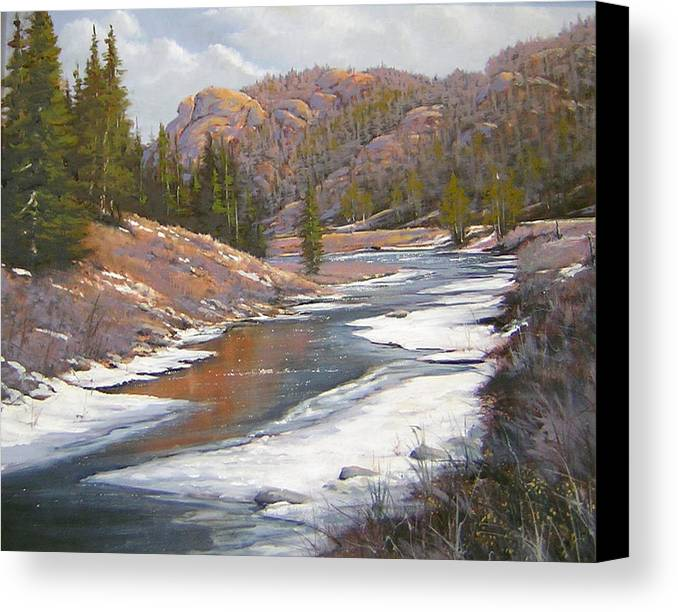 Landscape Canvas Print featuring the painting 060112-2016 January Freeze  by Kenneth Shanika