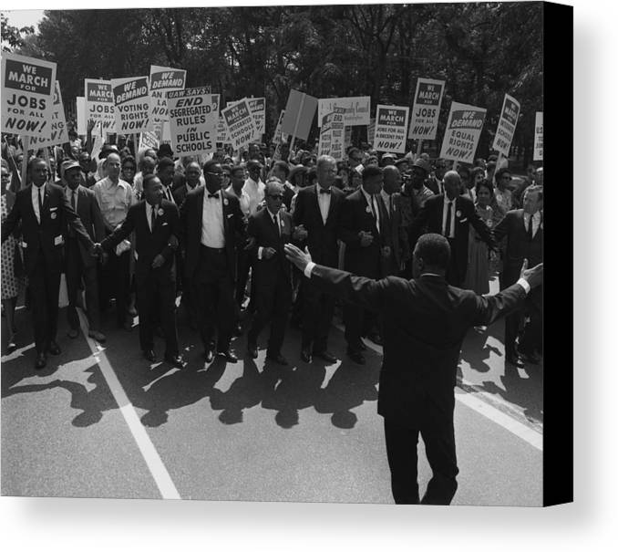 History Canvas Print featuring the photograph 1963 March On Washington. Famous Civil by Everett