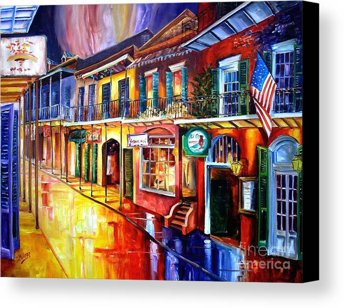 New Orleans Canvas Print featuring the painting Bourbon Street Red by Diane Millsap
