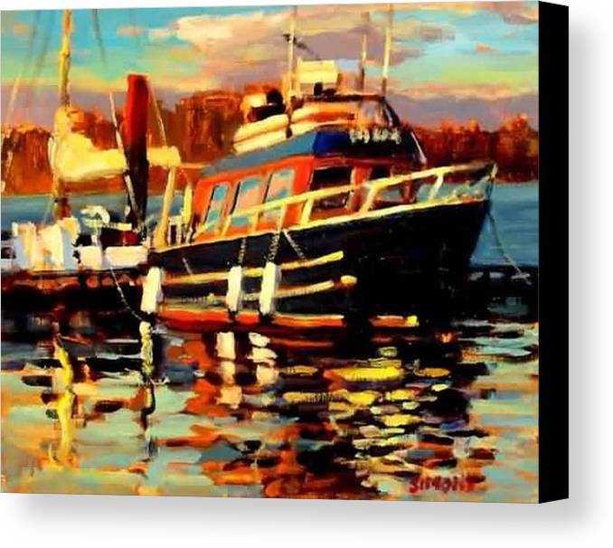 Boat Paintings Canvas Print featuring the painting Cruiser by Brian Simons