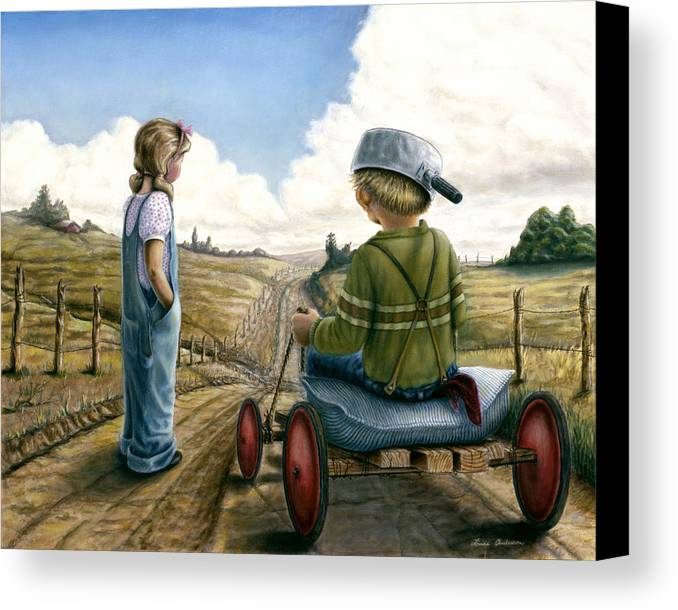 Children Playing Canvas Print featuring the painting Down Hill Racer by Lance Anderson
