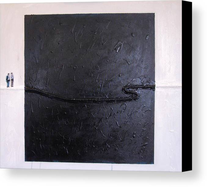 Modern Art Canvas Print featuring the painting Explaining Modern Art Standing On An Elegant Line by Kevin Callahan