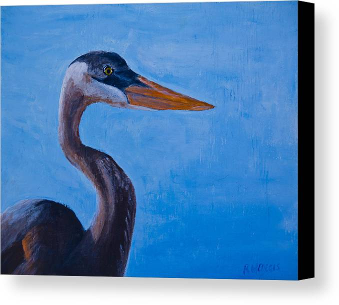 Heron Canvas Print featuring the painting Great Blue Heron by Roger Wedegis