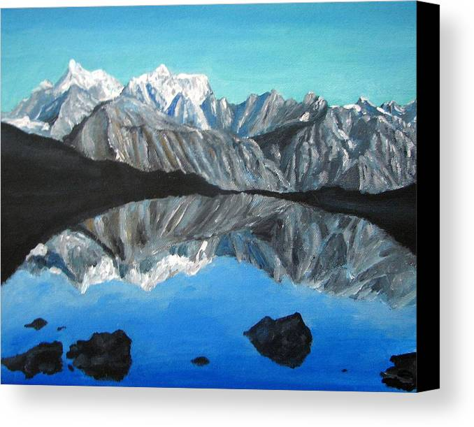 Smoky Mountains Canvas Print featuring the painting Mountains Landscape Acrylic Painting by Natalja Picugina