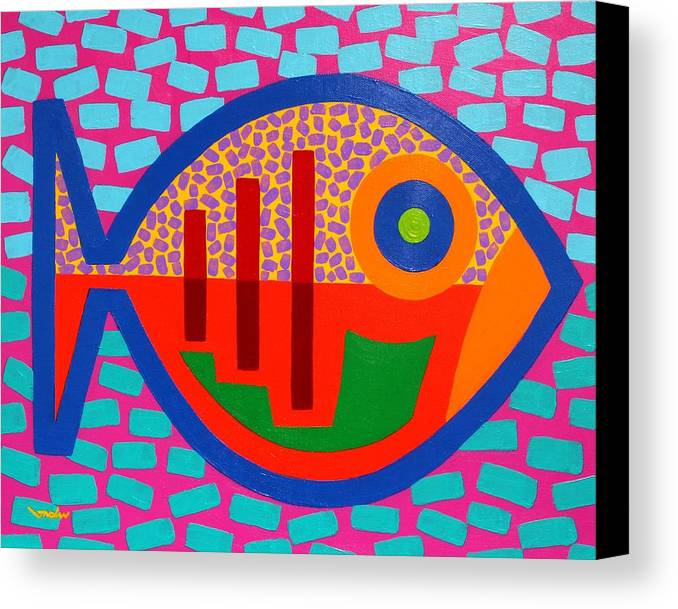 Fish. Psychedelic Canvas Print featuring the painting Psychedelic Fish by John Nolan
