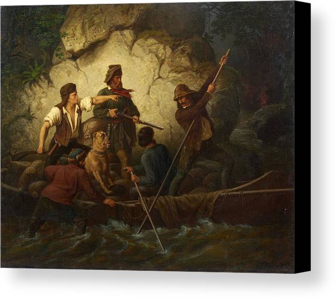 Ernst Bosch Canvas Print featuring the painting Smuggler In A Boat by Ernst Bosch