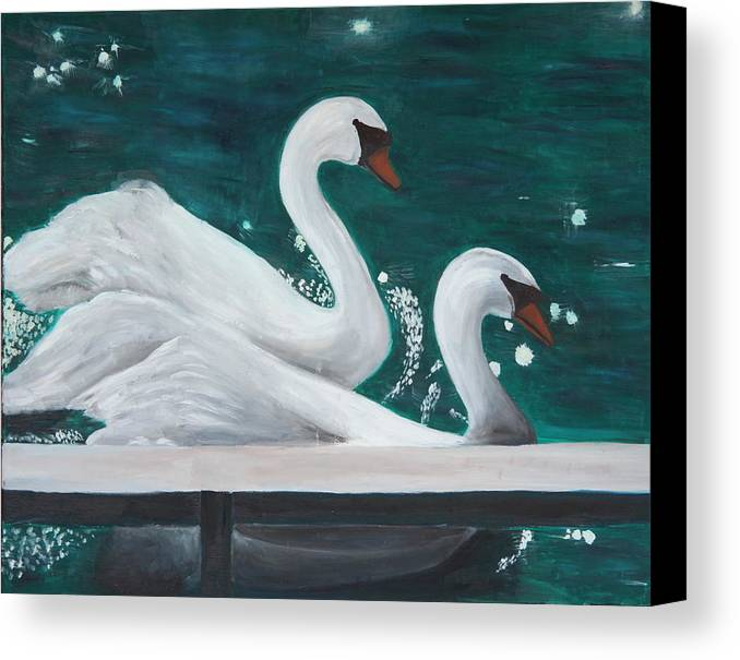Animals Canvas Print featuring the painting Swans by Taly Bar