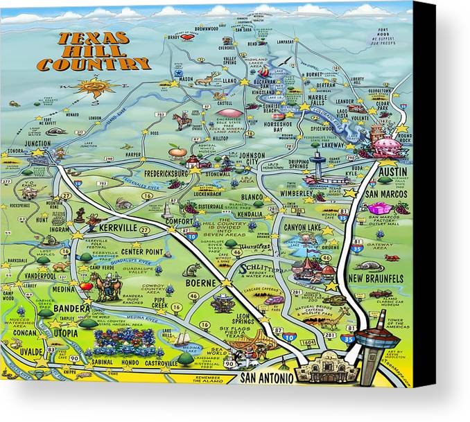 Texas Hill Country Cartoon Map Canvas Print / Canvas Art by Kevin ...