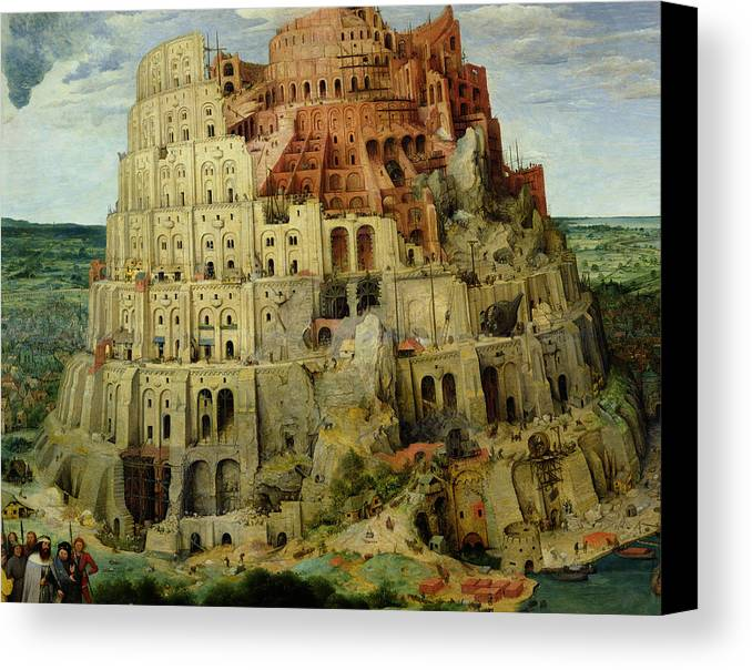 Tower Canvas Print featuring the painting Tower Of Babel by Pieter the Elder Bruegel
