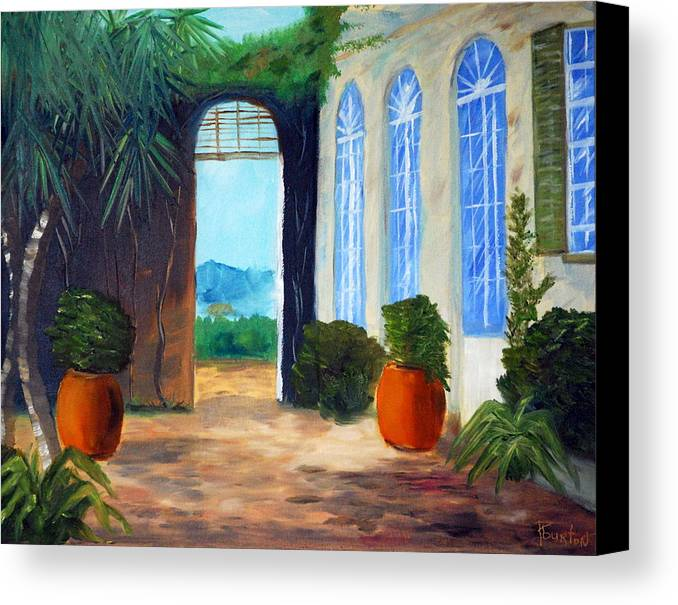 Italy Canvas Print featuring the painting Tuscany Court Yard by Phil Burton