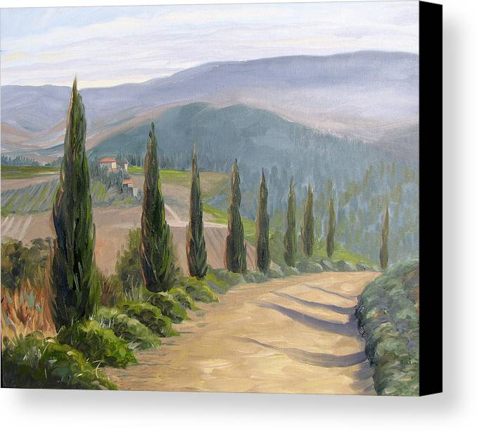 Landscape Canvas Print featuring the painting Tuscany Road by Jay Johnson
