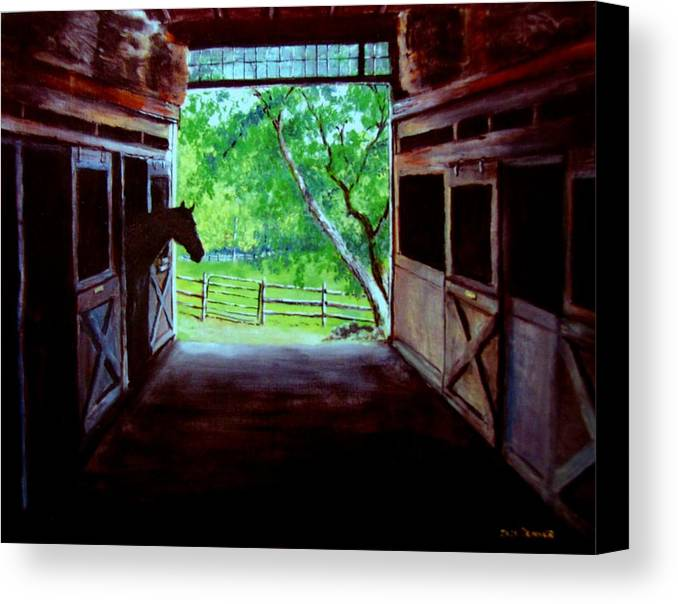 Horse Canvas Print featuring the painting Water's Edge Farm by Jack Skinner