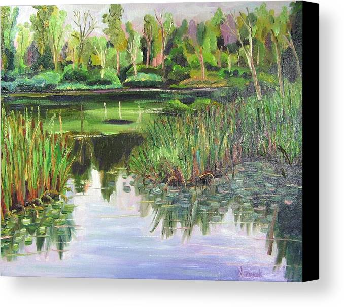 Wooldland Canvas Print featuring the painting Woodland Reflections by Richard Nowak