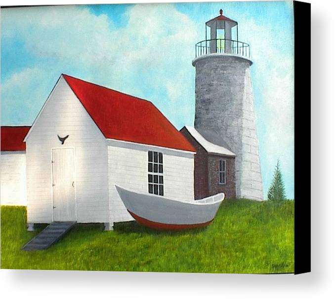 Dory Canvas Print featuring the painting Monhegan Lighthouse by Paul O Shaskan