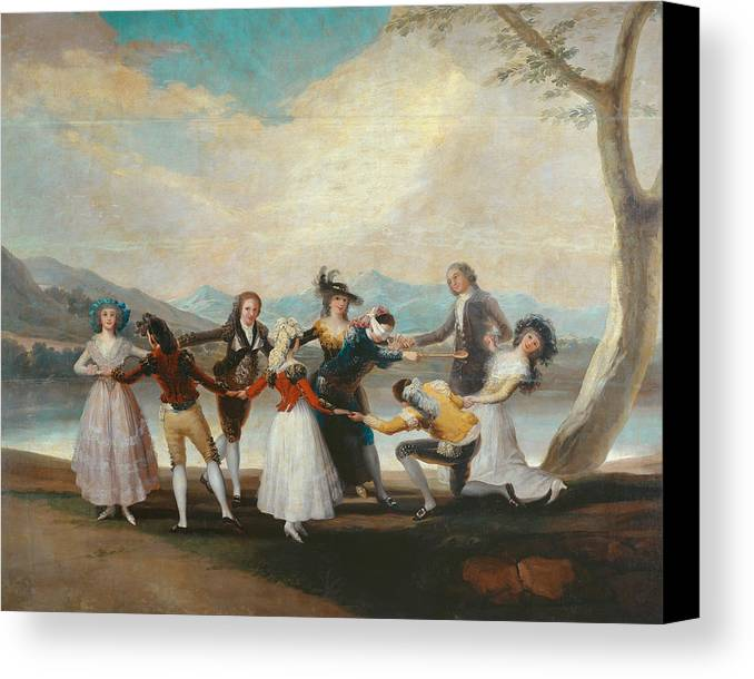 Arts Canvas Print featuring the painting Blind Man's Buff by Francisco Goya