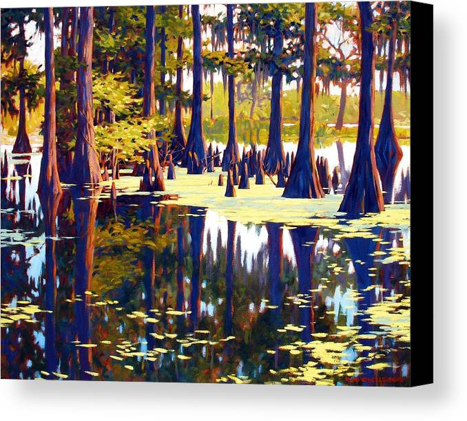 Swamp Canvas Print featuring the painting Reflections by Kevin Lawrence Leveque