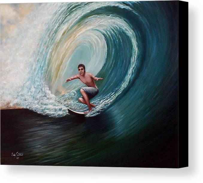 Surfing Canvas Print featuring the painting A Balance by Edy Sutowo