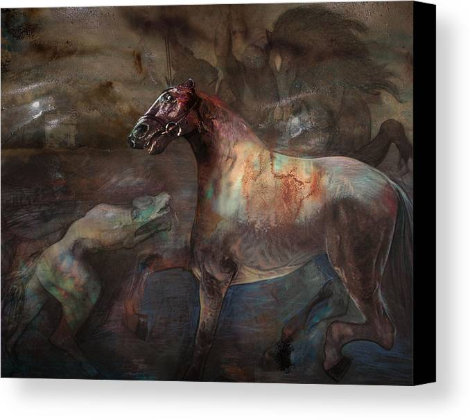 Horse Canvas Print featuring the digital art A Nightmare by Henriette Tuer lund