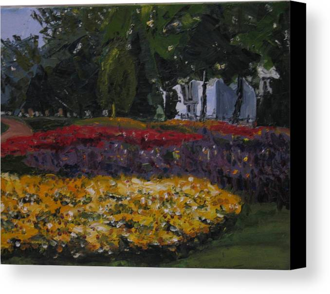 Landscape Canvas Print featuring the painting A Park In Cambrige by Piety Choi