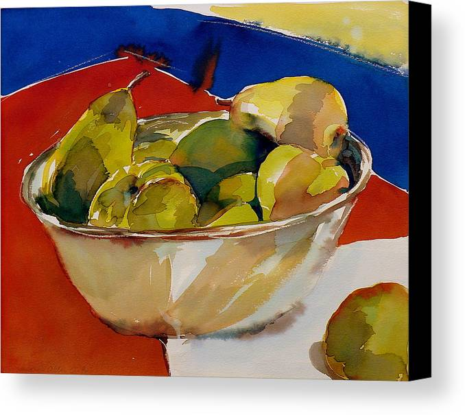 Pears Canvas Print featuring the painting A Reflection On Pears by Doranne Alden