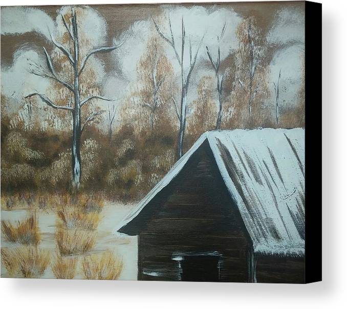 Cabin Canvas Print featuring the painting A Snow In Georgia by Denise Mauldin