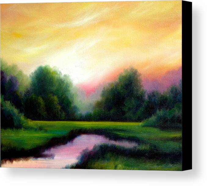 Clouds Canvas Print featuring the painting A Spring Evening by James Christopher Hill