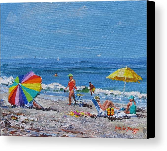 Beach Scene Canvas Print featuring the painting A Summer by Laura Lee Zanghetti