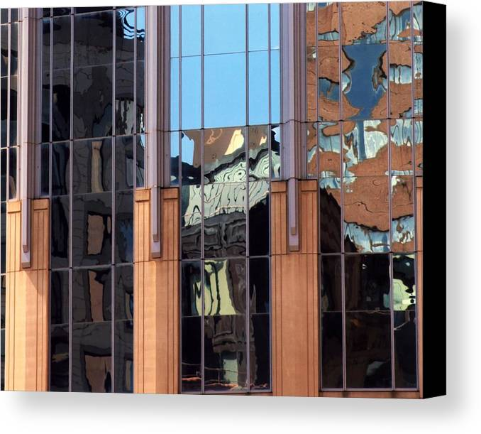 Reflections Canvas Print featuring the photograph Abstract Reflections In Glass by Karin Kohlmeier
