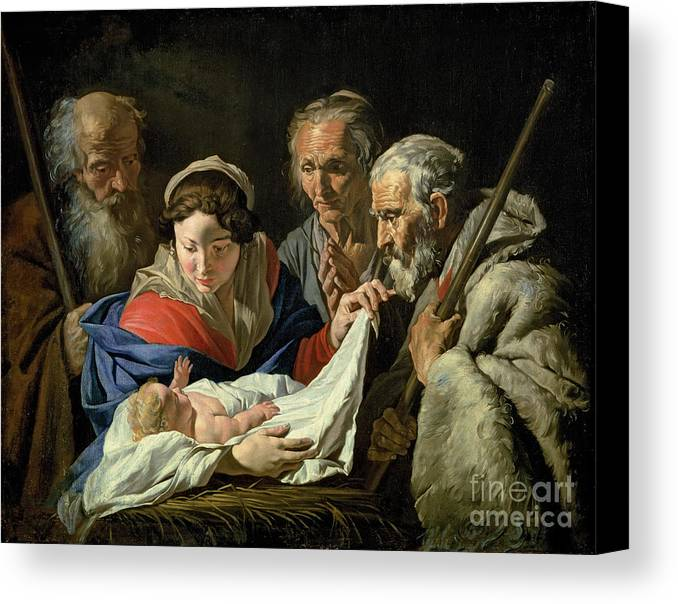 Nativity Canvas Print featuring the painting Adoration Of The Infant Jesus by Stomer Matthias